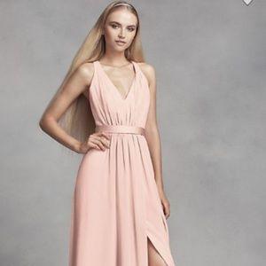 Long Chiffon Dress with Low Crisscross Back